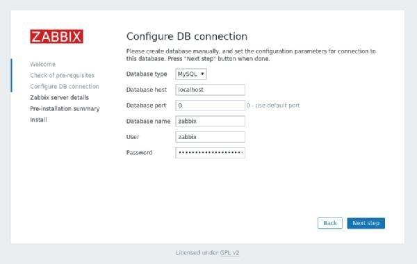 صفحه وارد کردن اطلاعات اتصال پایگاهداده