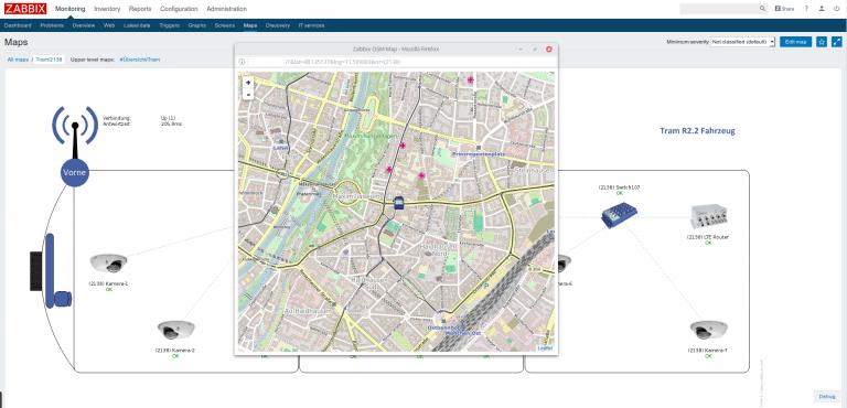 محل قطارها در نقشه Zabbix
