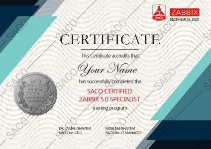عکس مدرک Zabbix Specialist
